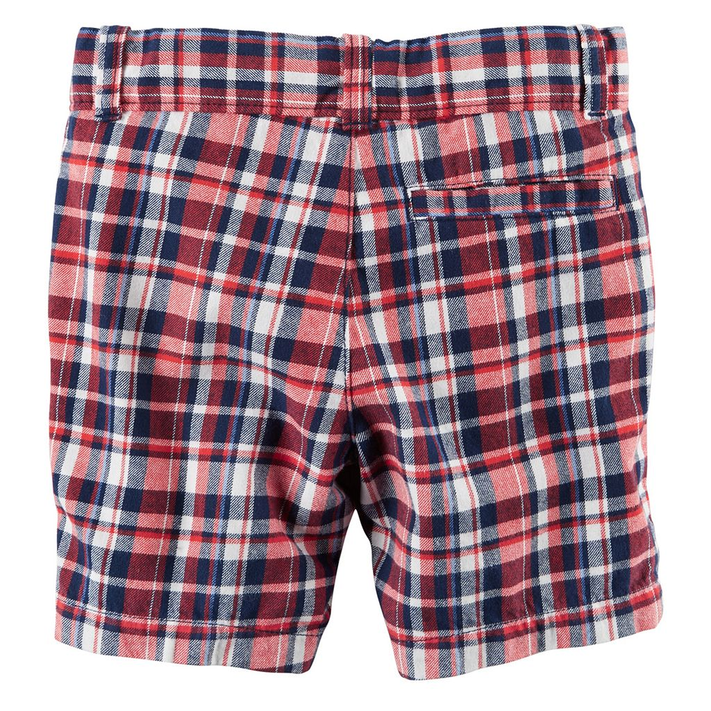 Baby Boy Carter's Flat Front Red & Navy Plaid Shorts