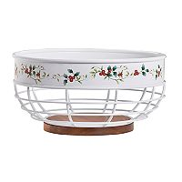 Pfaltzgraff Winterberry Wood-Bottom Bread Basket
