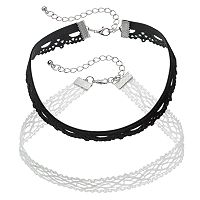 Mudd® Black & White Lace Choker Necklace Set