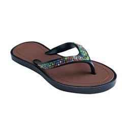 Girls 4-16 Multi-Colored Gem Flip Flops
