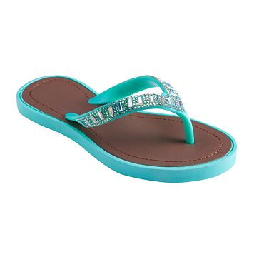 Girls 4-16 Mint Beaded Flip Flops