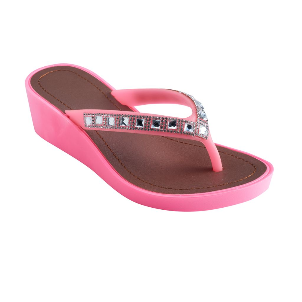Girls 4-16 Natural Wedge Flip Flops