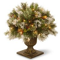 National Tree Company 24 in Pre-Lit Artificial Wintry Pine Bush Plant
