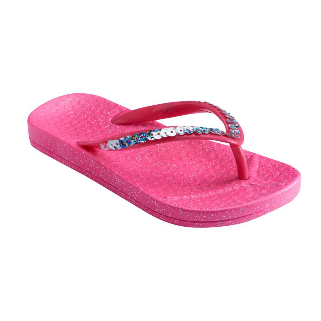 Girls 4-16 Sequin Glitter Jelly Flip Flops