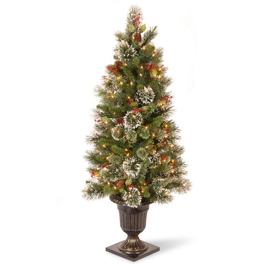 National Tree Company 4-ft. Pre-Lit Artificial Wintry Pine Porch Tree