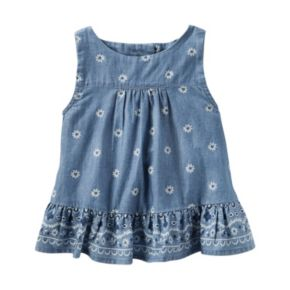 Toddler Girl OshKosh B'gosh® Floral Vented-Back Chambray Top