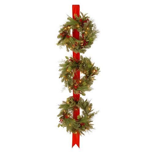 National Tree Company 77 in. Artificial Triple Christmas Wreath Door Hang