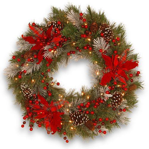 National Tree Company 24 in. Artificial Tartan Plaid Wreath