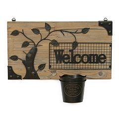 ''Welcome'' Fir & Metal Wall Hanging Planter