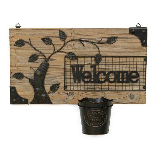 ''Welcome'' Fir & Metal Wall Hanging Planter