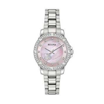 Bulova Woman's Crystal Heart Stainless Steel Watch - 96L237