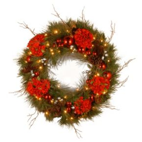 National Tree Company 24 in. Artificial Hydrangea Wreath