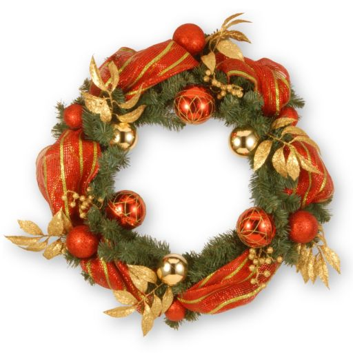 National Tree Company 30 in. Artificial Striped Red Ribbon Wreath