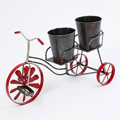 Metal Tricycle Antique Finish Dual Planter