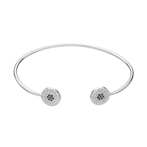 Fleur Cubic Zirconia Circle Cuff Bracelet