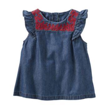 Toddler Girl OshKosh B'gosh® Embroidered Yoke Chambray Top