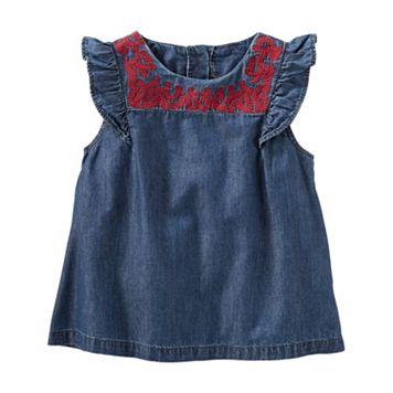 Toddler Girl OshKosh B'gosh® Embroidered Yoke Chambray Top