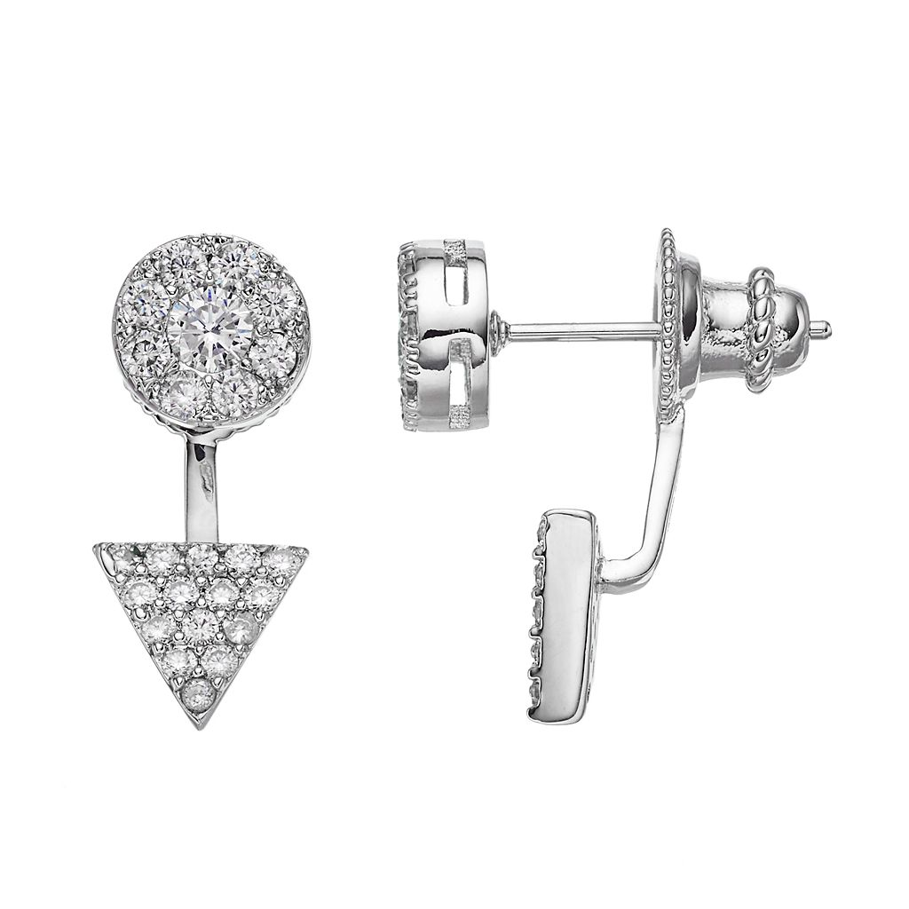 Fleur Cubic Zirconia Circle & Triangle Front-Back Earrings