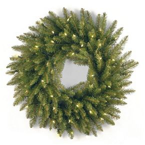 National Tree Company 24-in. Pre-Lit Artificial Dunhill Fir Christmas Wreath