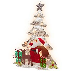 National Tree Company Pre-Lit Santa & Reindeer Christmas Tree Table Decor