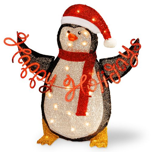 National Tree Company Pre-Lit 29-in. Tinsel Penguin Decor