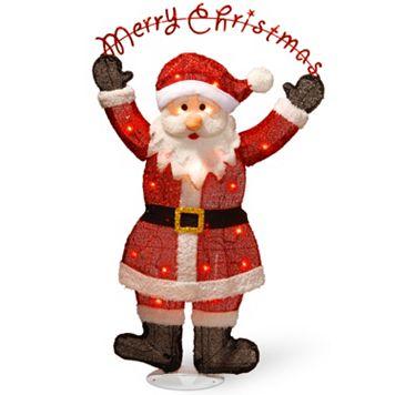 National Tree Company Pre-Lit 36-in. Tinsel Santa Christmas Decor