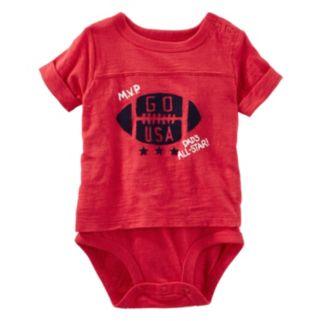 """Baby Boy OshKosh B'gosh® """"Go USA"""" Football Mock-Layer Bodysuit"""