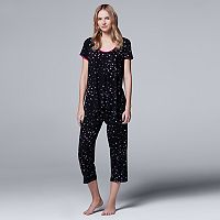 Women's Simply Vera Vera Wang Pajamas: Whisper Garden Top & Capris PJ Set