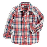 Toddler Boy OshKosh B'gosh® Long Sleeve Orange Plaid Poplin Button-Down Shirt