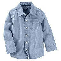 Toddler Boy OshKosh B'gosh® Long Sleeve Blue Pinstripe Poplin Button-Down Shirt
