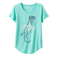 Girls 7-16 & Plus Size Mudd® Raw Edge Scoopneck Shiny Graphic Tee