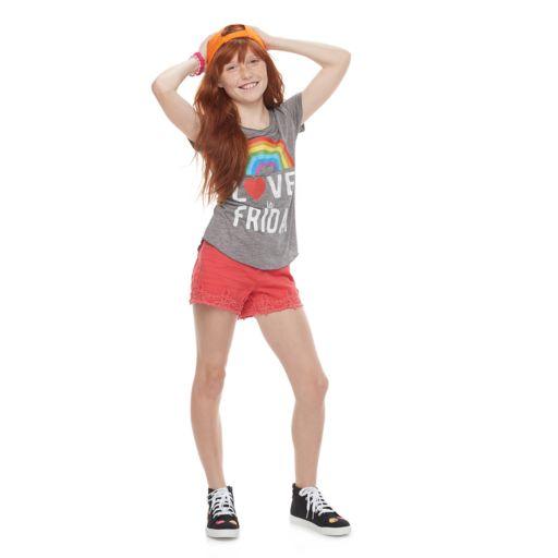Girls 7-16 & Plus Size Mudd® Seamed Back High-Low Hem Graphic Tee