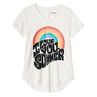 Girls 7-16 & Plus Size Mudd® Seamed Back High-Low Hem Graphic Tee