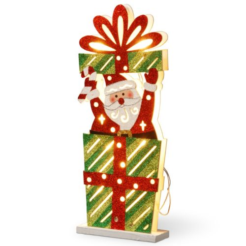 National Tree Company Pre-Lit Santa Christmas Present Table Decor