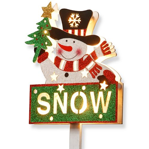 National Tree Company Pre-Lit Glitter Snowman Sign