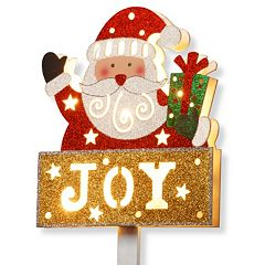 National Tree Company Pre-Lit Glitter 'Joy' Santa Christmas Sign
