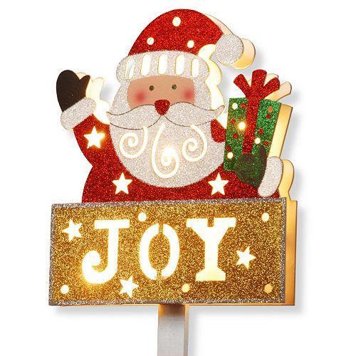 "National Tree Company Pre-Lit Glitter ""Joy"" Santa Christmas Sign"