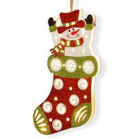 National Tree Company Pre-Lit Glitter Snowman Stocking Wall Decor