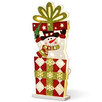 National Tree Company Pre-Lit Snowman Christmas Present Table Decor
