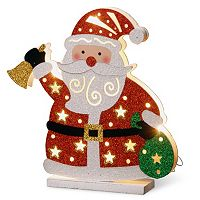 National Tree Company Pre-Lit Glitter Santa Christmas Table Decor