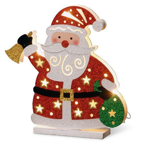 National Tree Company Pre-Lit Glitter Santa Christmas Table Decor