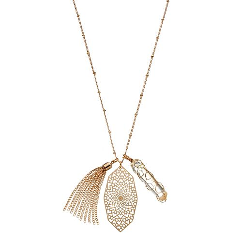 Mudd® Tassel & Kaleidoscope Charm Long Necklace