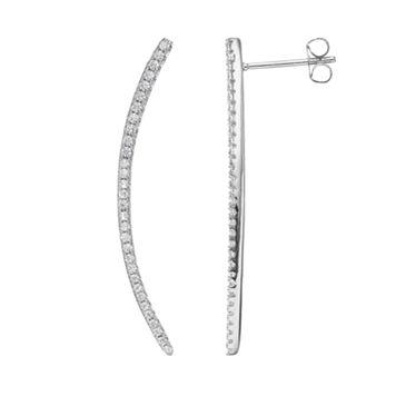 Fleur Cubic Zirconia Curved Bar Drop Earrings