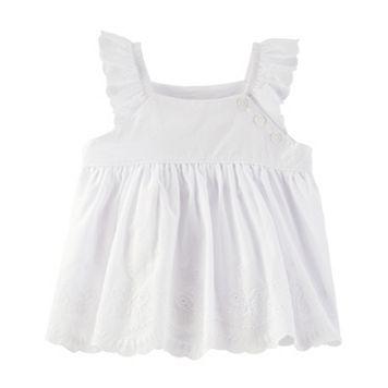 Toddler Girl OshKosh B'gosh® White Scalloped Eyelet Babydoll Top