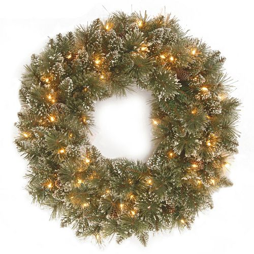 National Tree Company 24-in. Pre-Lit Artificial Pine Glitter Christmas Wreath