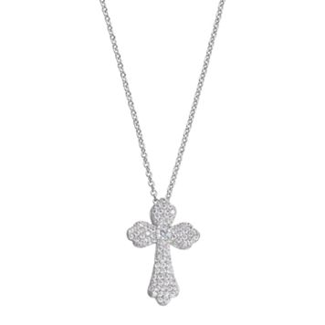 Fleur Cubic Zirconia Quatrefoil Cross Pendant Necklace