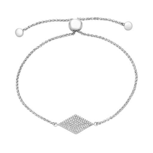 Sterling Silver 1/4 Carat T.W. Diamond Kite Bolo Bracelet