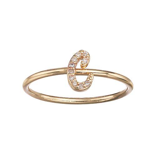 LC Lauren Conrad Gold Tone Monogram Ring