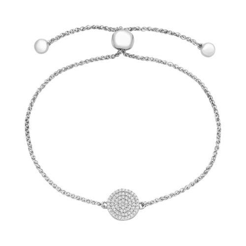 Sterling Silver 1/5 Carat T.W. Diamond Disc Bolo Bracelet