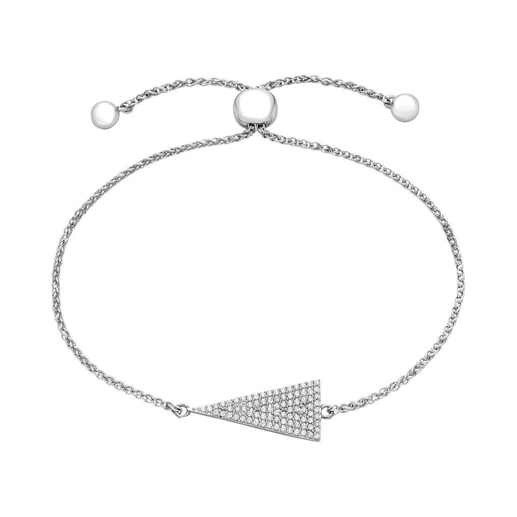 Sterling Silver 1/3 Carat T.W. Diamond Triangle Bolo Bracelet